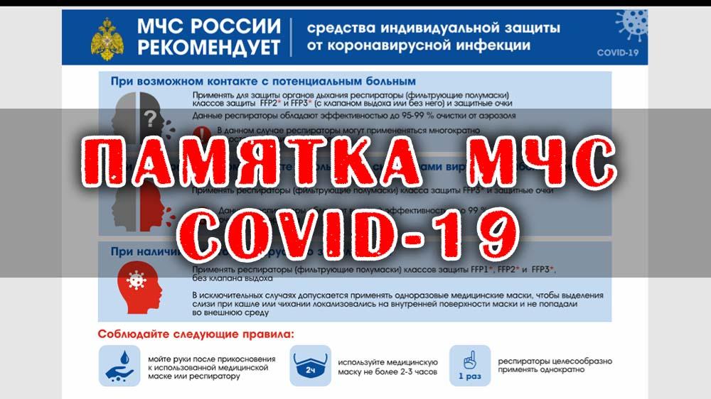 Памятка МЧС о COVID-19